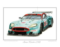 Aston Martin DBR9 Car Art Print - Aston Martin Dbr9, Automotive Art, Fast Cars, Design Art, Illustration Art, Racing, Art Prints, My Favorite Things, Running