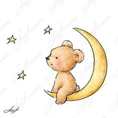 The drawing of cute teddy bear sitting on the moon and watching ...