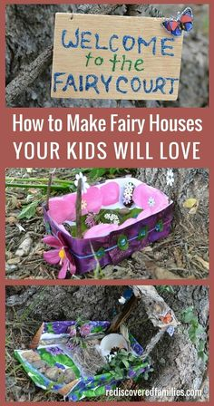 Fun and whimsical fairy houses for indoor or outdoor use. A fun, creative and cheap children's craft that will add a little magic to the outdoors.