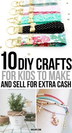 10 easy crafts for kids to make and sell for extra money. I am so LOVE with these AWESOME ideas for DIY projects and handmade items that I can make at home and sell at craft fairs or on Etsy. I can make a lot of money at home even when I am a teenager! Crafts For Teens To Make, Easy Arts And Crafts, Easy Diy Crafts, Diy For Kids, Simple Crafts, Diy Crafts Home, Family Crafts, Diy For Teens, Creative Crafts