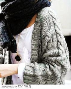Gray Chunky Oversized Knit Cardigan & BIG scarf