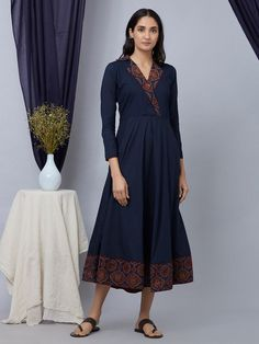 Dresses for Women : Buy Designer & Party Wear Dresses Online Neck Designs For Suits, Designs For Dresses, Dress Neck Designs, Blouse Designs, Simple Kurti Designs, Kurta Designs Women, Salwar Designs, Kurta Patterns, Kurti Embroidery Design