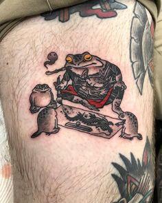 Japanese Tattoo Art, Japanese Tattoo Designs, Japanese Sleeve Tattoos, Frog Tattoos, Body Art Tattoos, Spartan Tattoo, Sunset Tattoos, Fire Tattoo, Traditional Japanese Tattoos