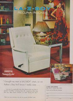 1971 La-Z-Boy Reclina-Rocker Chair Recliner Vintage 70s Furniture Advertisement Retro Wall Art Decor