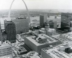 Aerial Citiscape of Downtown St. Louis Showing Arch, Old Court House, Mississippi River, Sept. 23, 1974. | collections.mohistory.org