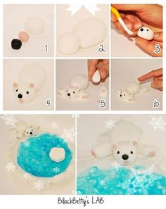 Polar Bear Tutorial for Sugar Paste or Fondant Fondant Icing, Fondant Toppers, Fondant Cakes, Cupcake Cakes, Cake Decorating Supplies, Cake Decorating Tutorials, Clay Projects, Clay Crafts, Cake Models