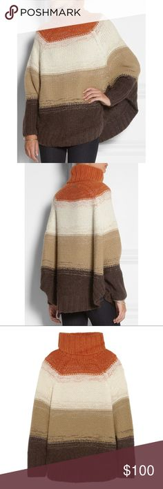 Michael Kors Striped Knitted Poncho Style Sweater Stunning and very lux, you'll wow this fall and winter in this beautiful sweater by Michael Michael Kors. Michael Kors Sweaters Shrugs & Ponchos