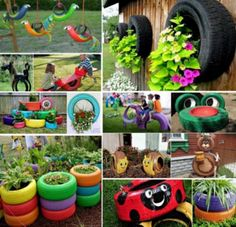 Why is so important to know how to reuse old tires? Old tires are normally thrown out or at the very least end up sitting around in the garage or yard collecting dust. Disposing of old tires is a g… Garden Crafts, Garden Projects, Garden Ideas, Tire Craft, Reuse Old Tires, Recycled Tires, Tire Garden, Sensory Garden, Used Tires