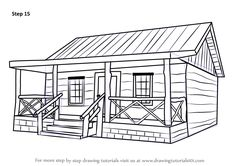 How To Draw Wood Cabin Step 15 843x596