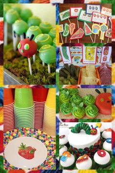 The Very Hungry Caterpillar Party Baby First Birthday, Boy Birthday Parties, Birthday Bash, Birthday Ideas, Hungry Caterpillar Party, Caterpillar Craft, Party Mottos, Baby Party, Party Time