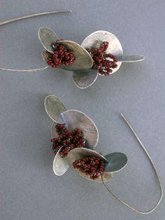 jaime jo fisher - paddle lantern earrings : sterling, glass beads, thread