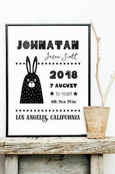 Black and white baby birth announcement sign - printable wall art personalized with your custom baby birth stats. Print it large and use as a poster or print it small and use as a postcard. Modern and cute decoration for a gender neutral nursery in Scandinavian style! #baby #printable #affiliate #nursery