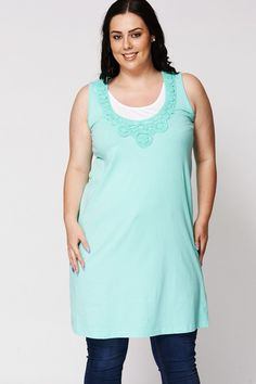 Layered Round-Neck Tunic With Crochet Detail