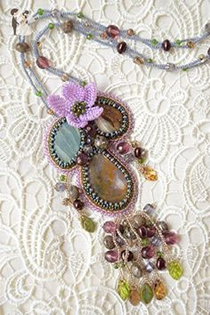 Flower beaded necklace Statement necklace Handmade necklace Bead necklace handmade Bohemian Beadwork Embroidered necklace Gemstone necklace bead embroidery summer charm - Wedding nacklaces (*Amazon Partner-Link)