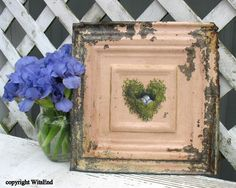 Heart Nest painting on antique ceiling tin with by 4WitsEnd, $65.00