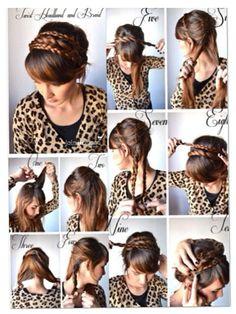 quick and cute braid headband updo
