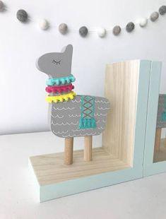 Llama Bookends, Llama Nursery Decor, Llama Kids Decor, Colorful ...