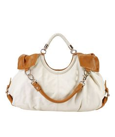 Look what I found on #zulily! White Maselle Leather Hobo #zulilyfinds