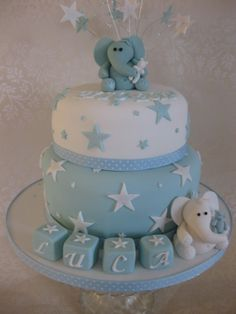 Boys 2 tier Christening cake