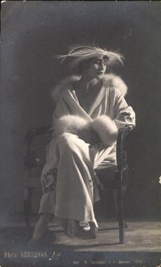 1918 photograph of Vera Kolodnaya, one of the first Russian silent film stars.