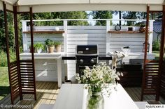 My Garden - Sisustuskuva jäseneltä idahhh - StyleRoom. Diy Outdoor Kitchen, Outdoor Dining, Outdoor Spaces, Mobile Home Porch, Outdoor Grill Station, Backyard Plan, Summer Kitchen, Decks And Porches, Small Patio