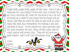 Elf on a shelf letter from Santa freebie!