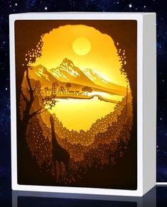 DecorSmart Papercut Light Boxes - Giraffe And Shangri-La, Night Light Lamp For Baby Nursery, Kids And Adults