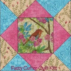 Spring Birds Tree Pink Flower Fabric Easy Pre-Cut Quilt Blocks Top Squares Kit