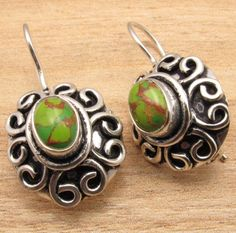 925 Silver Plated GREEN COPPER TURQUOISE Latest Fashion Earrings ONLINE SHOPPING | eBay