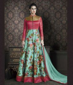 Naksh - Beautiful Dusty Pink And Ferozi Georgette Suit