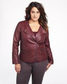 pleather crew neck jacket | Shop Online at Addition Elle