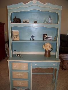Annie Sloan duck egg desk/hutch..love this color! #anniesloanunfolded