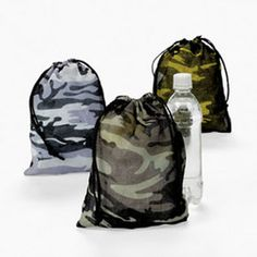Camouflage draw string bags - great for party bags or ration packs