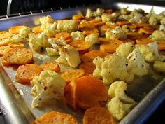 Roasted cauliflower and sweet potato rounds