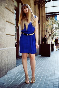 statement belt with blue dress and lace up shoes