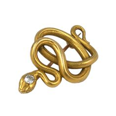 19th Century French Coiled Snake Brooch