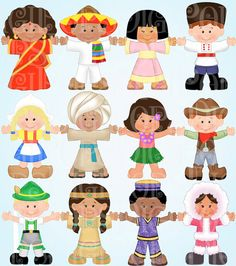 Children Around the World Digital Clip Art Set -Personal and Commercial- Child, Ethnic, Costumes, Global, Navtive,  Instant Download