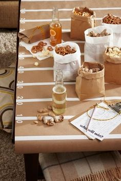 DIY football field table cover from Babble #gameday #superbowl
