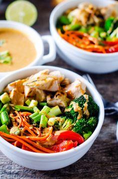 Chicken Veggie Quinoa Bowl with Spicy Peanut Sauce