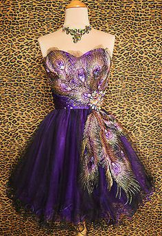 PURPLE PEACOCK PROM COCKTAIL EVENING BRIDESMAID PAGEANT SHORT GOWN DRESS XL 12 - $99