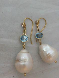 Pair of Victorian 15K Diamond Aquamarine Baroque Pearl Large Drop Earrings…