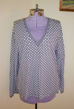"""NWT Women's Size XL Top Shirt Blouse Tunic 46"""" Bust Charter Club Black White SEE #CharterClub #KnitTop #CasualCareer"""