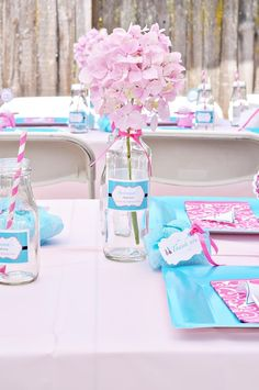 Pretty spa party table #spa #party. give the guests a gift certificate for a pedicure as a favor