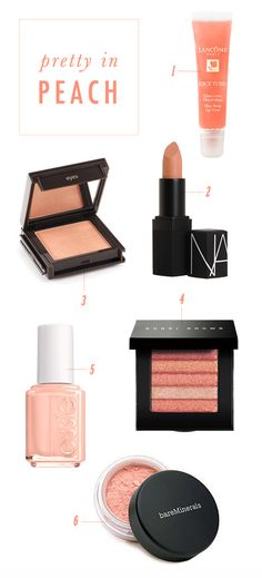 Peach makeup looks fresh and dewy for the summer, ah LOVE all of these things!