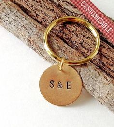 Custom Couple's Stamped Brass Key Ring by Shop Miguez on Scoutmob Shoppe