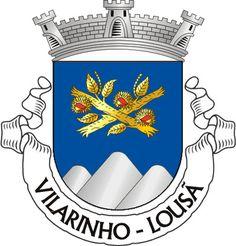 """Civic heraldry of Portugal - Brasões dos municípios Portugueses - Escudo de azul, dois ramos de castanheiro de ouro, ouriçados do mesmo, abertos e frutados de vermelho e passados em aspa; em ponta, monte de três cômoros de prata, firmado nos flancos. Coroa mural de prata de três torres. Listel branco, com a legenda a negro: """"VILARINHO - LOUSÃ""""."""
