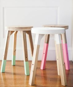 DIY Dipped Stools | From the ultra easy (just a coat of spray paint) to the more complex (drilling in a new base) these projects all have one thing in common: they take only a few hours to complete, but breathe new life into tired furniture.