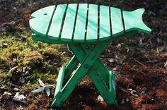 Silla forma pez plegable - verde decapado | AW Regalos