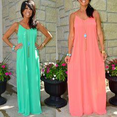 She + Sky Boho FLOWY Neon Coral - Neon Green Sleeveless Goddess Maxi Dress S M L #SheandSky #Maxi #SummerBeach