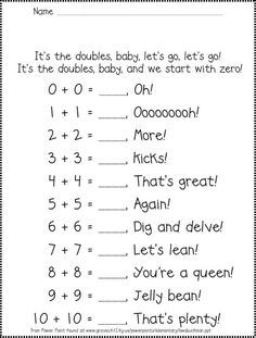 Here's a rap for helping students remember the doubles facts.: